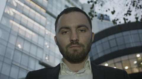 Severe look of bearded business man Footage