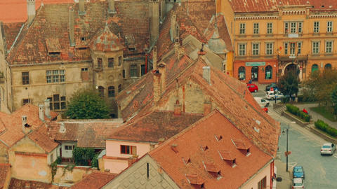 Ultra Close-up, Panoramic View Of Sighisoara City In Transylvania, Romania stock footage