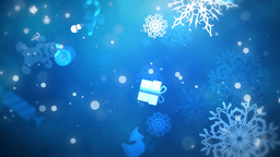 Flying Christmas Flakes and Gifts, Blue, Looped Animation