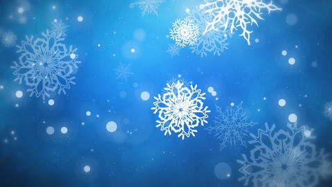 Christmas Flakes Blue Looped Animation
