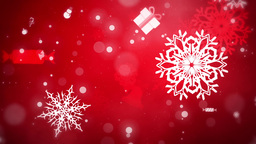 Flying Christmas Flakes and Gifts, Red, Looped Animation