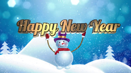 """Snowman brings """"Happy New Year"""" words Animation"""