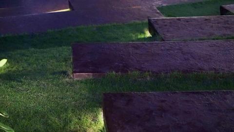Video Park Garden, Landscape Lighting Design At Night stock footage