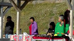 Greenland small town Qaqortoq 096 Eskimos behind market stalls on village square Footage