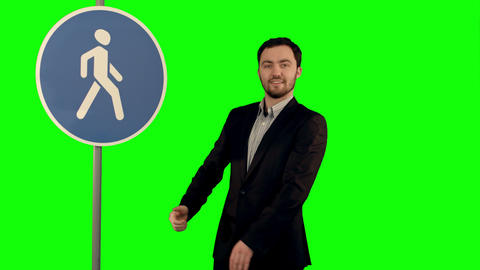 Man Cross Walk Sign On A Green Screen stock footage