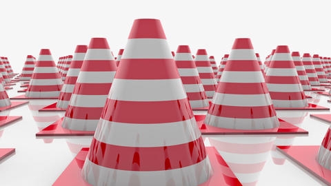 Moving traffic cones in rows with red stripes Animation