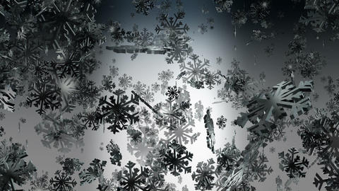 Flying snowflakes on dark Animation