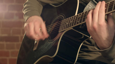 Guitar in male hands Footage