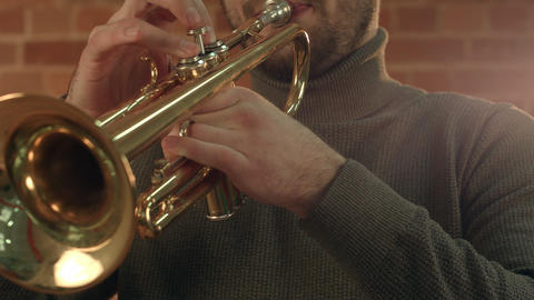 Hands of an musician playing the trumpet Footage