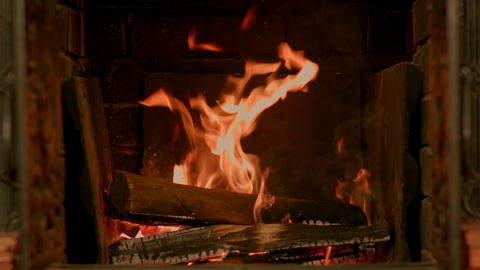 A nice fire in a fire place Footage