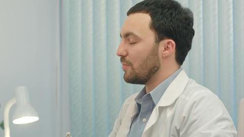 Hospital: Doctor Checks Heartbeat Footage
