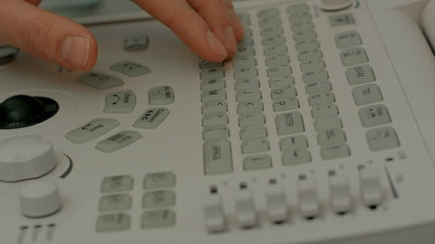 Control Panel Of Medical Device With Doctor's Hand stock footage