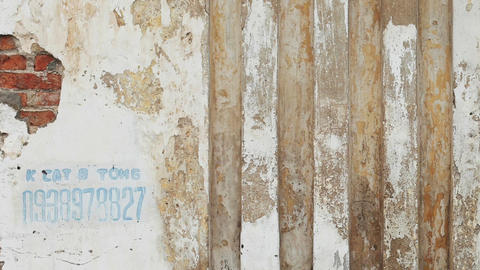 Weathered and Cracked Wall with Vertical Visual Elements Footage