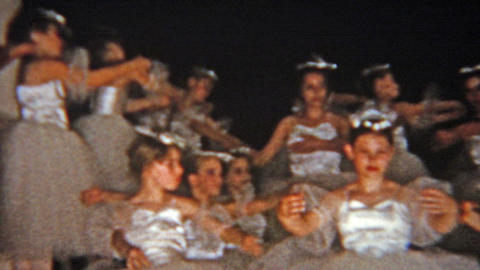 1957: White ballet dance dressed group performance of adults and children Footage