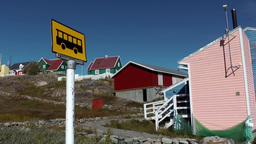 Greenland Small Town Qaqortoq 069 Bus Station In Valley Of Hillside Village stock footage