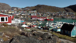 Greenland small town Qaqortoq 078 city and surrounding seen from harbor side Footage