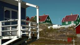 Greenland small town Qaqortoq 085 wooden veranda in upper village Footage