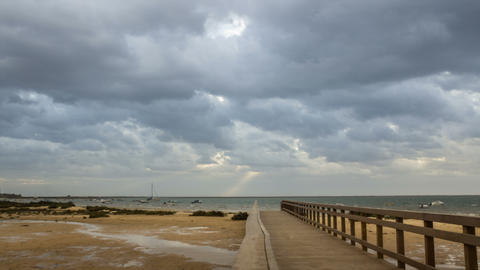 4K 180 Pan Cloudy Morning Ria Formosa Cavacos Footage