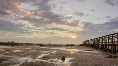 4K Dawn to sunrise 90º Pan Time Lapse seascape, in Ria Formosa wetlands natural Footage
