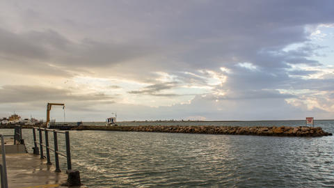 4K Olhao Pier Cloudy Dawn 90 Pan Timelapse Footage