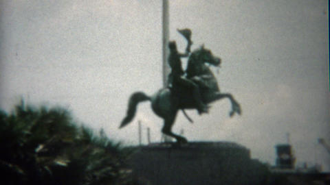 1959: New Orleans bourbon street, jackson square, and stone crypts cemetery maus Footage
