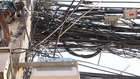 Electrical Wiring on a Typical Asian Rural Street Footage