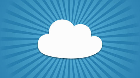 cartoon Cloud popup with rotating rays on blue background After Effects Template