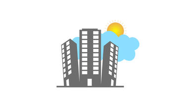 Cartoon Buildings Pop Up with rising sun and floating clouds After Effects Template