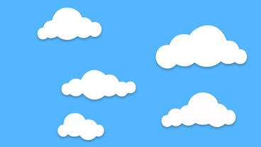 Different shape cartoon Clouds popup and floating on blue background After Effects Project