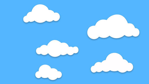 Different shape cartoon Clouds popup and floating on blue background After Effects Template