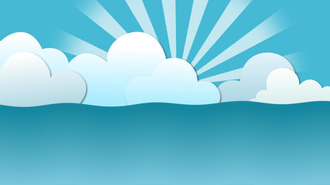 Sea waving view with floating cartoon clouds and rising sun After Effects Template