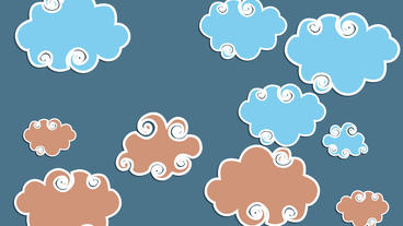 Swirly different Color cartoon Clouds with stars at night time After Effects Project