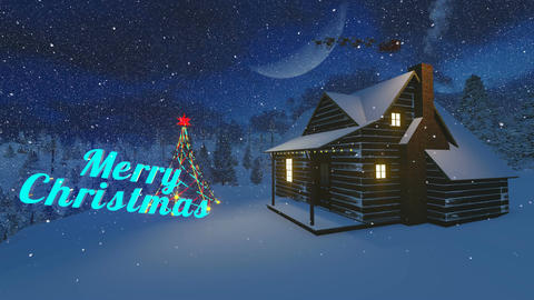 Animated Merry Christmas text in a night forest Animation