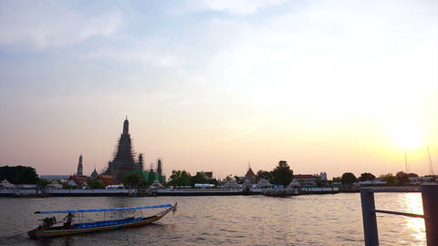 Chao Phraya River In Bangkok, Thailand. Boats Traffic Transportation In The Even stock footage