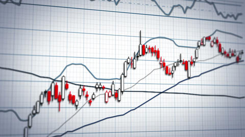 Stock market graph system - close-up panning Animation