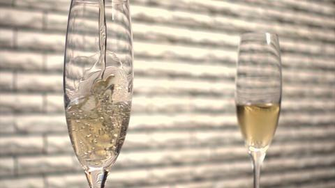 スローモーション・シャンパングラス(Champagne・Slow... Stock Video Footage