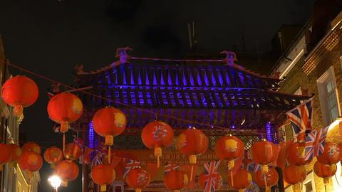 Paper Lanterns in London Chinatown Footage