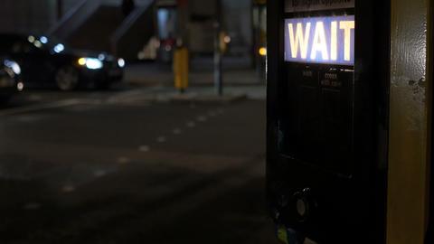 Night Pedestrain Press Walking Button Footage