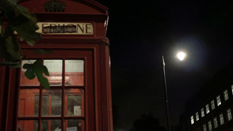 Night Phone Booth in London Footage