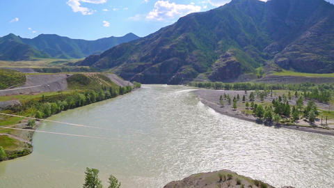 Confluence Chuya and Katun rivers, Altai, Russia Footage