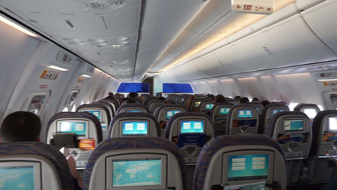 Modern Airplane Interior stock footage