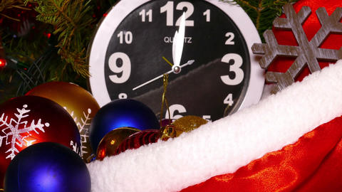 Clock and christmas balls and toys, timelapse Footage