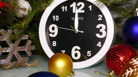 Clock and christmas balls and toys, zoom in Footage