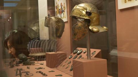 Roman Military Helmets Footage