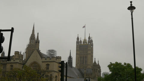 Great Britain Flag On Westminster Palace stock footage