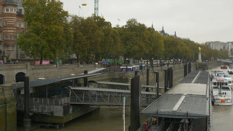 London Thames River Wharf stock footage