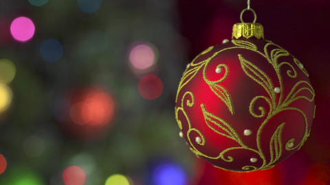 Red Christmas Ball Over Blinking Background stock footage