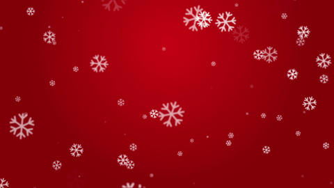 White Snowflakes in Red Background Seamless Looped Stock Video Footage
