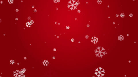 White Snowflakes in Red Background Seamless Looped Animation