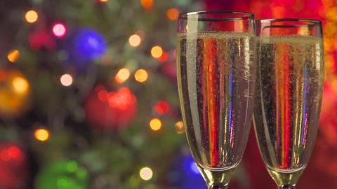 two glasses of champagne ready for christmas Footage